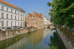 View from the canal in Bruges. In Belgium Stock Photography