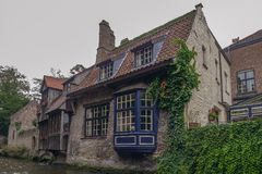 View from the canal in Bruges. In Belgium Stock Image