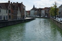 Canals of Brugge. View on canal in Brugge stock image