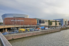 View on the canal from Brussels and Docks Bruxsel - New shopping Royalty Free Stock Photography