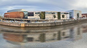 View on the canal from Brussels and Docks Bruxsel - New shopping Stock Image