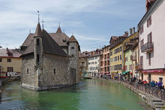 View of the canal in city centre of Annecy Stock Photography