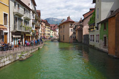 View of the canal in city centre of Annecy Stock Images