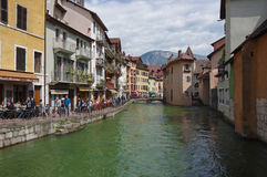 View of the canal in city centre of Annecy Stock Photo