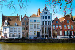 View with canal and colorful traditional houses in Brugge, Belguim Stock Photos