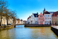 View with canal and colorful traditional houses in Brugge, Belguim Stock Photography