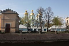 View of the canal and the dome of the temple stock photo