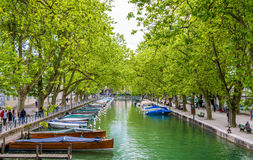 View of Canal du Vasse in Annecy, France Royalty Free Stock Photos