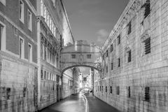 View of canal and the famous Bridge of Sighs in Venice Stock Photos
