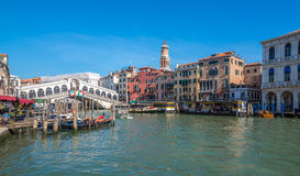 View at the Canal Grande with bridge Rialto in Venice Royalty Free Stock Photos