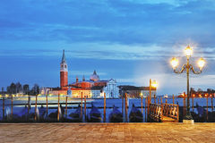 View of Canal Grande from Piazza San Marco at blue hour, Venice Royalty Free Stock Photos