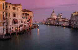 View on Canal Grande in sunset colours  as top attraction in Ven Stock Photo