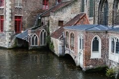 Canal in Bruges. View on canal and houses in Bruges Stock Image