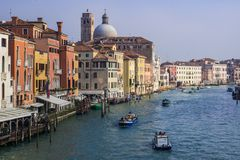 View of the main canal of venice stock images