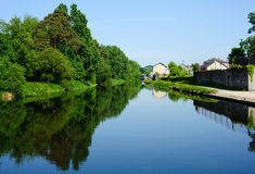 View  on the canal in summer time Royalty Free Stock Photo