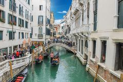 View of canal in venice in italy. View of canal in venice Royalty Free Stock Image