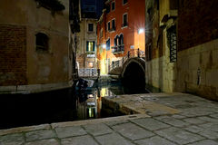 View of canal in Venice night Royalty Free Stock Photo