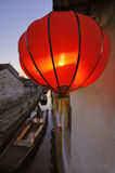 View at a canal in Zhou Zhuang CHINA. At sunset. At foreground red lampion Stock Images