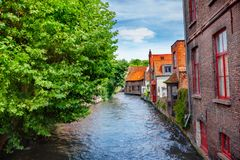 Canals of Brugge, Belgium Stock Photography
