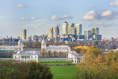 View of Canary Warf from Greenwich in London Stock Photos