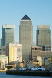 View of Canary Wharf across the Thames, E London Royalty Free Stock Photos