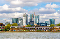 View of Canary Wharf district with the Thames River Royalty Free Stock Photo