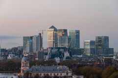 View of Canary Wharf from Greenwich Hill at dusk Royalty Free Stock Images