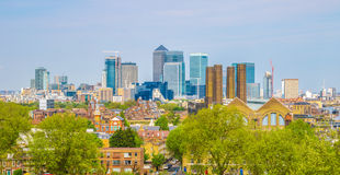 View of Canary Wharf. From Greenwich hill of London, England, UK royalty free stock photo