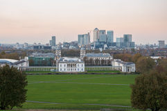 View of Canary Wharf from Greenwich Hill after sunset Stock Photo