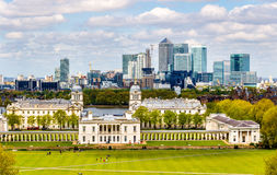 View of Canary Wharf from Greenwich - London Royalty Free Stock Images