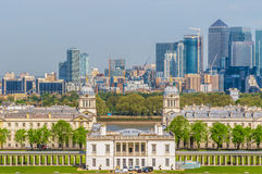 View of Canary Wharf. And Greenwich University from Greenwich hill of London, England, UK royalty free stock photography