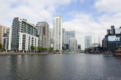 A view of Canary Wharf from the Isle of Dogs. Canals Stock Images