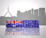 View of Canberra. Word Canberra with national flag of australia near skyline silhouette stock illustration
