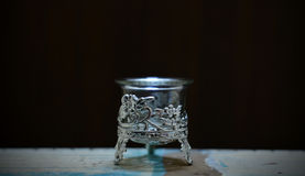 View of candle stand pot or glass with flower design. Royalty Free Stock Image