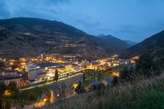 View of Canillo township lights and main street at dusk stock image