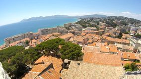 View of Cannes and Mandelieu stock footage