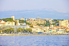 View of Cannes from the sea Royalty Free Stock Image
