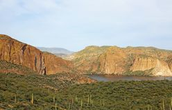 View at Canyon Lake. Canyon Lake from Apache Trail, Arizona stock photos