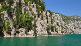 A view into the canyon in the Taurus mountains from boat stock video footage