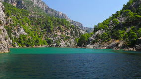 A view into the canyon in the Taurus mountains from boat stock footage
