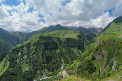 View of the canyon of White Aragvi river, Georgia. View of the canyon of White Aragvi river from the lookout platform on the Cross Pass (Gudauri Pass), Caucasus Royalty Free Stock Photos
