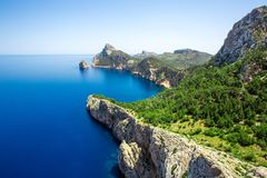 View of Cap Formentor in Mallorca, Spain. View of Cap Formentor in Mallorca and Mediterranean sea, Spain stock photography