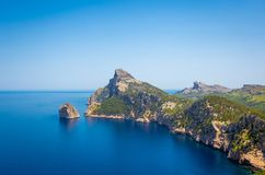 View of Cap Formentor in Mallorca, Spain. View of Cap Formentor and Mediterranean sea in Mallorca, Spain Royalty Free Stock Photos