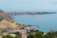 View on Cape de l`Horta in Alicante. View on Cape de l`Horta from Castle Santa Barbara, Alicante stock photography