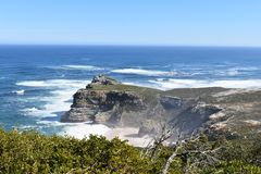 View of Cape of Good Hope from Cape Point in Cape Town on the Cape Peninsula Tour in South Africa. View of Cape of Good Hope from famous Cape Point in Cape Town royalty free stock image