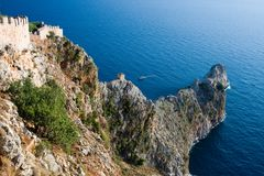 View on cape in Mediterranean sea, Turkey. Bird view on cape in Mediterranean sea, Alanya, Turkey Royalty Free Stock Photos