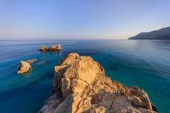 Rocks near Agios Nikitas. Lefkada, Greece. View from Cape Nikita. Agios Nikitas. Lefkada, Greece Royalty Free Stock Image