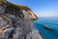 Little beach near Agios Nikitas. Lefkada, Greece. View from Cape Nikita to little beach. Agios Nikitas. Lefkada, Greece Royalty Free Stock Photos