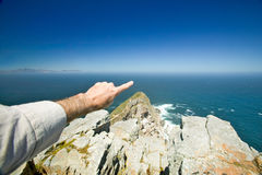 View of Cape Point, Cape of Good Hope, outside Cape Town, South Africa at the confluence of Indian Ocean on right and Atlantic Oce Royalty Free Stock Images
