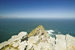 View of Cape Point, Cape of Good Hope, outside Cape Town, South Africa at the confluence of Indian Ocean on right and Atlantic Oce Stock Images